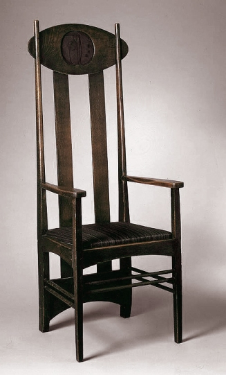 High-backed Armchair, c.1899. Oak, horsehair upholstery, inset lacquer panel, 53-1516 x 20-12 x 19-116 in. Designed by Charles Rennie Mackintosh (Scottish,1868-1928).