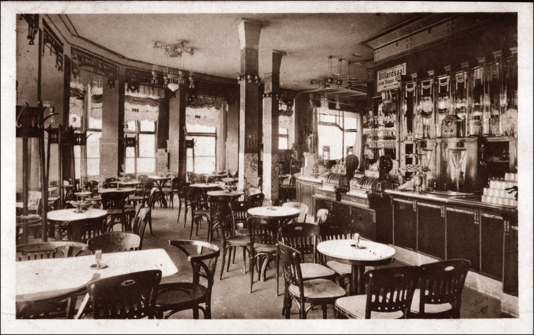 Wuppertal Elberfeld, Cafe Holländer, Innenansicht, Theke, Billardsaal