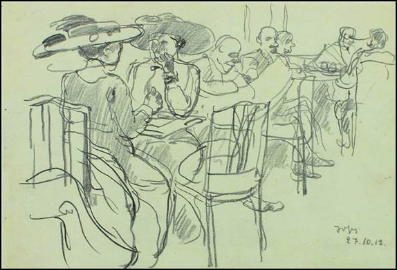 George Groz Cafe Josty dibujo 1912