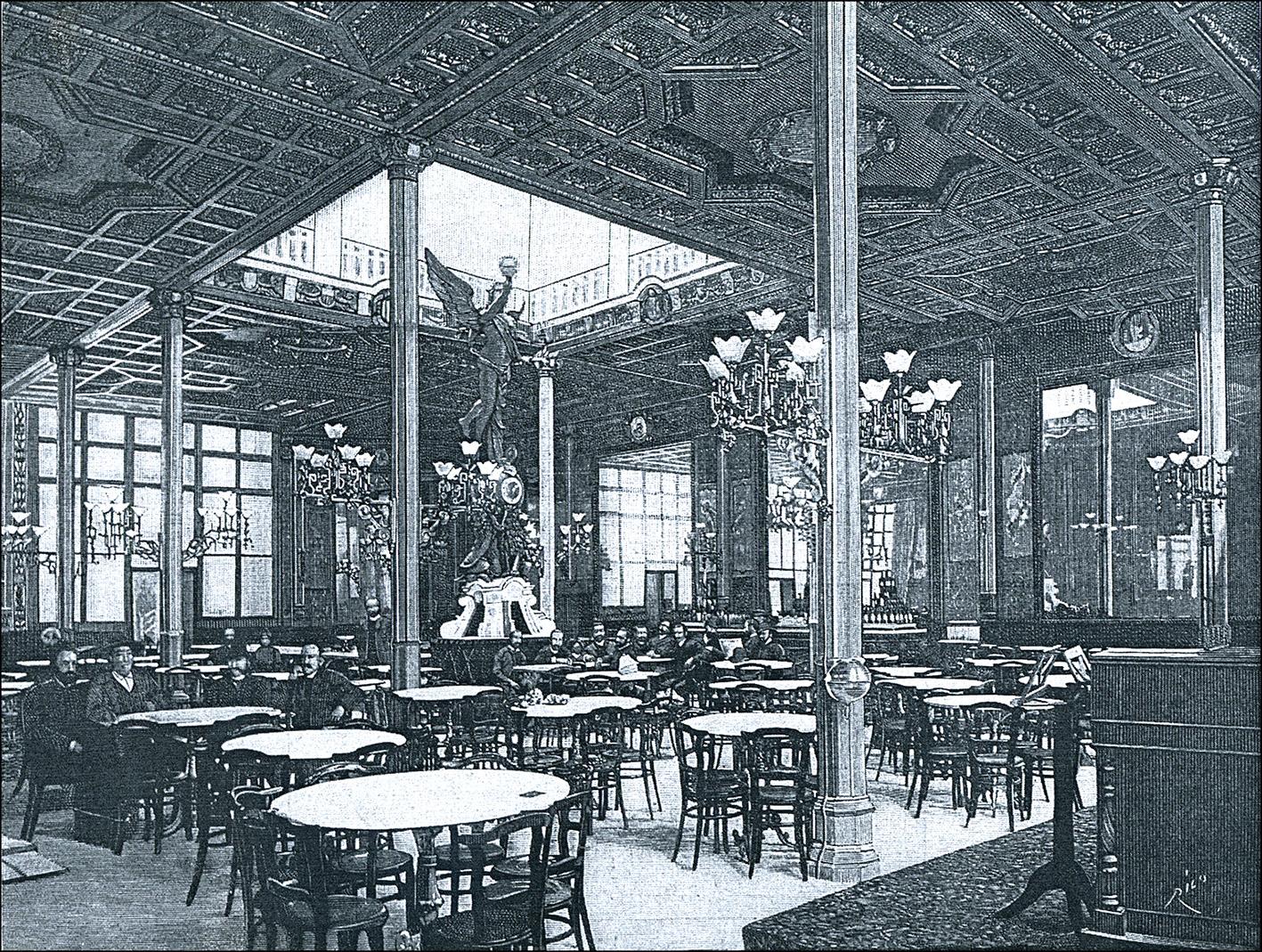 2 Café España de Valencia Ilustración Esp. y Americana 1889.