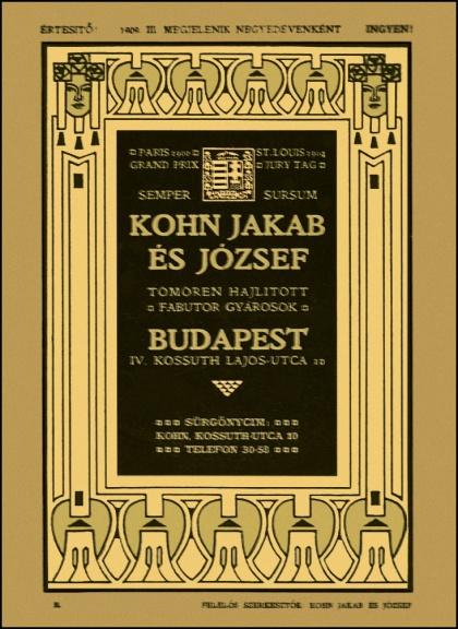 Boletin de aparición trimestral gratuito Kohn Budapest 1909 RET